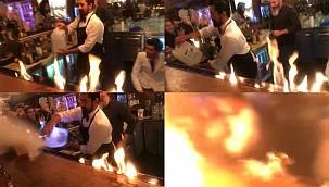 Ateşli şov kabusa döndü! Turistler alevlerin içinde kaldı