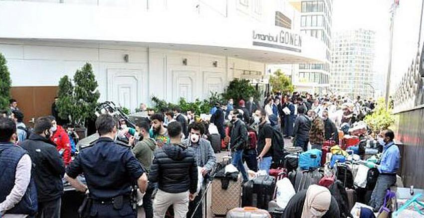 İstanbul Gönen Otel'de konaklayanlardan protesto! Ortalığı birbirine kattılar