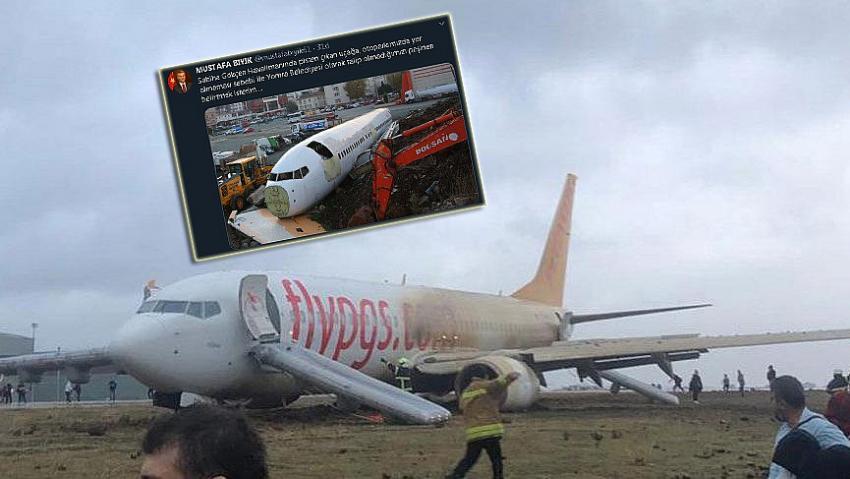 Pistten çıkan uçakla ilgili Yomra Belediyesi'nden otopark göndermesi!