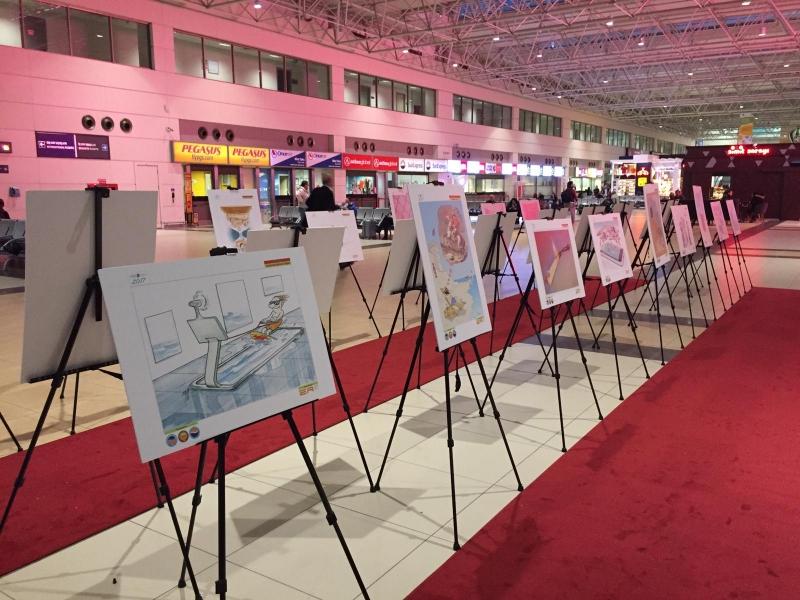Uluslararası Turizm Karikatürleri Yarışması'nın sergisi Antalya Havalimanı'nda açıldı